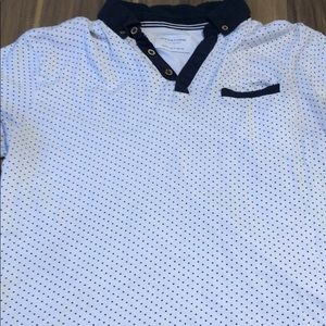 Other - Men's white and navy blue collared shirt.
